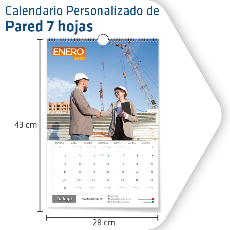 Calendarios Personalizados Pared 7 hojas