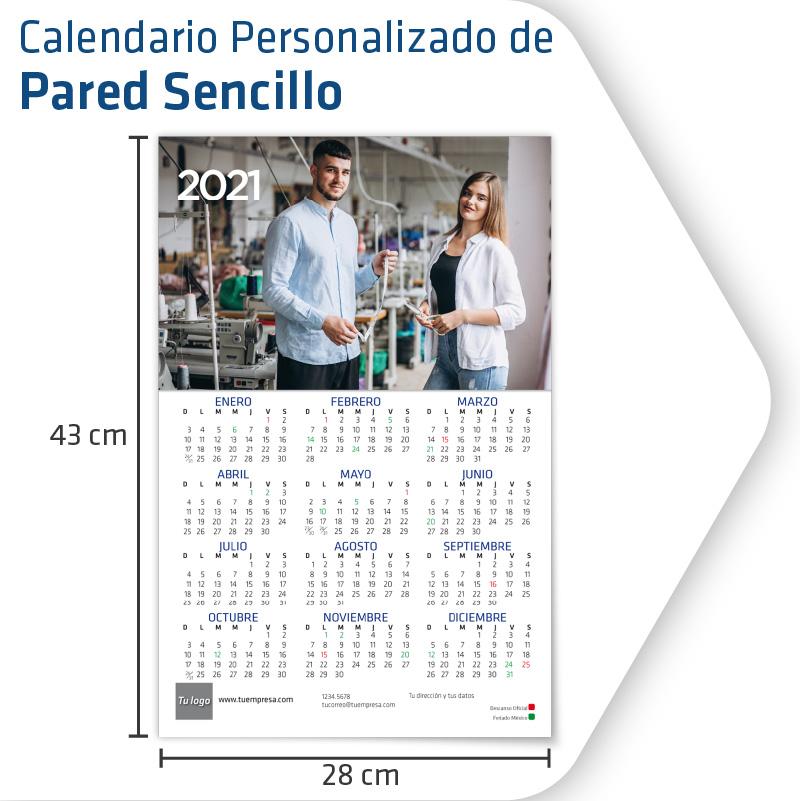 Calendarios Personalizados Pared Sencillo