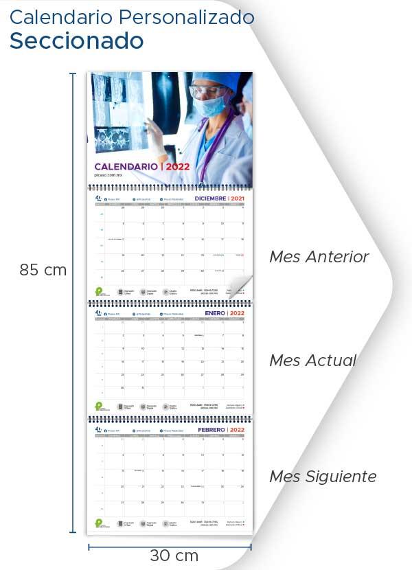 Calendarios Personalizados 2022 de pared seccionado